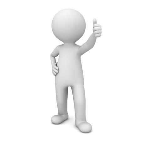 3d homme montrant thumbs up comme isolé sur fond blanc Banque d'images
