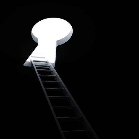 Ladder through keyhole to the bright light business concept photo