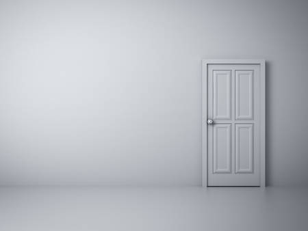 Mur blanc vide avec la porte fermée