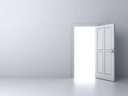 Opened door with bright light on empty white wall background photo