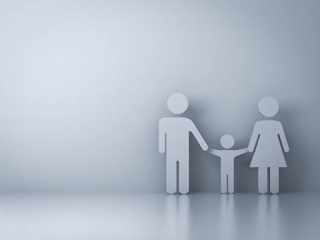 holding blank sign: Family symbol on empty white wall background with reflection Stock Photo
