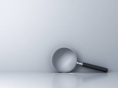 Magnifying Glass on empty white wall background with reflection