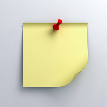 Yellow sticky note paper with red push pin on white background with shadow