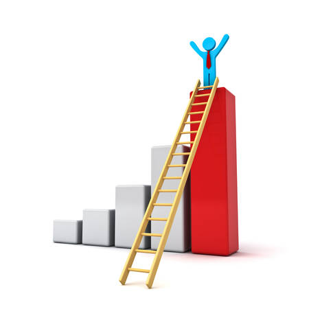 Business man standing with arms wide open on top of growth business red bar graph with wood ladder isolated over white background photo