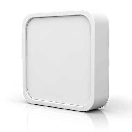 Blank 3d square button or frame over white background with reflection