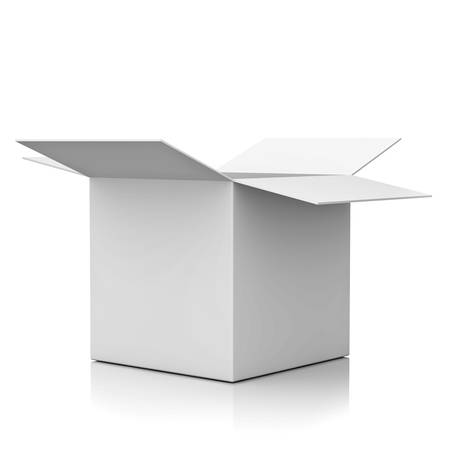 Blank opened cardboard box isolated over white background with reflection