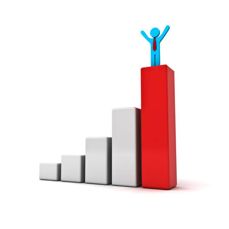 wide open: Business man standing with arms wide open up on top of growth business red bar graph isolated over white background