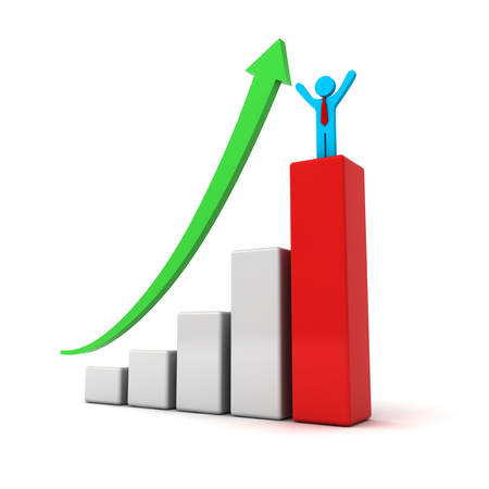 Business man standing with arms wide open up on top of growth business red bar graph with green rising arrow isolated over white background photo