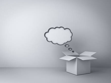 think out of box: Opened box with blank thought bubble over empty white wall background , Think outside the box concept Stock Photo
