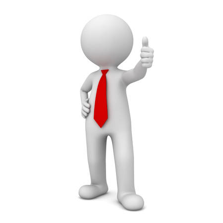 3d business man showing thumbs up like isolated over white background photo