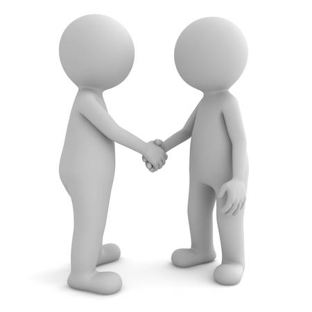 3d people shaking hands isolated on white background