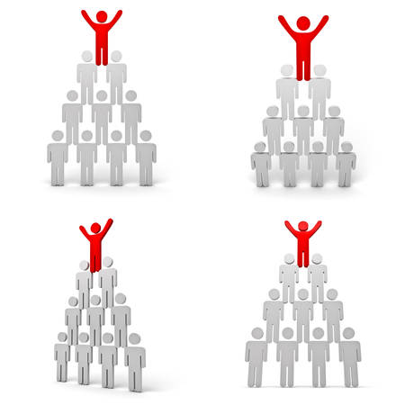 arms wide open: Collection of leadership concept isolated on white background , Red man standing with arms wide open up on top of pyramid Stock Photo