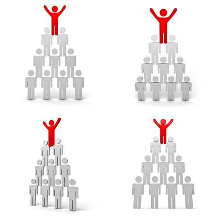 arms wide: Raccolta di concetto di leadership isolato su sfondo bianco, rosso uomo in piedi con le braccia spalancate in cima alla piramide