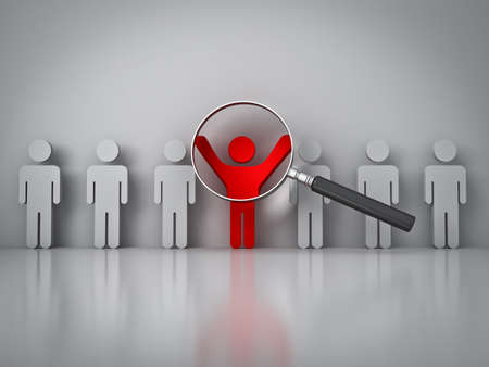 Poszukiwania odpowiedniej osoby pojęcia, lupy nakierowanej na czerwonym człowieka stojącego z bronią szeroko otwarte na białej ścianie z refleksji Zdjęcie Seryjne