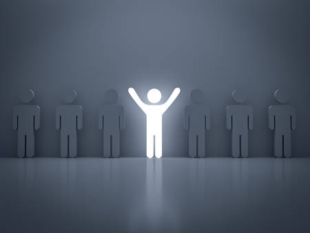 out of focus: Stand out from the crowd and different concept , Light man standing with arms wide open with other people
