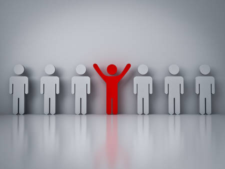 individuality: Stand out from the crowd or different concept , Red man standing with arms wide open with other people