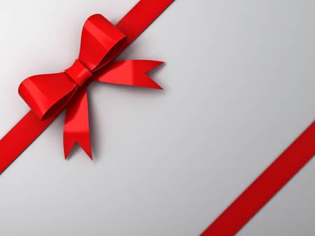Red ribbon bow on white background Stock Photo - 23800237