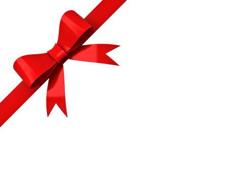 Ruban rouge arc isolé sur fond blanc coin Banque d'images