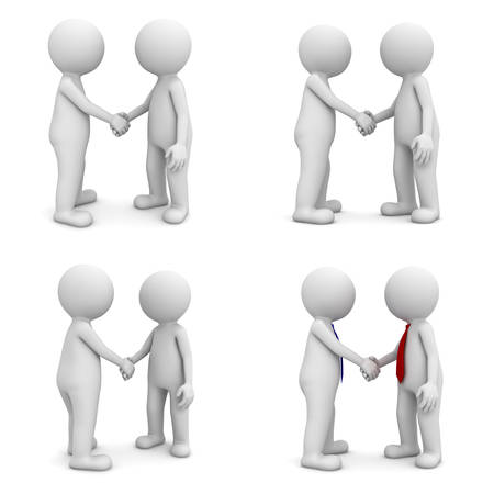 hand grip: Collection of 3d people handshake isolated on white background Stock Photo