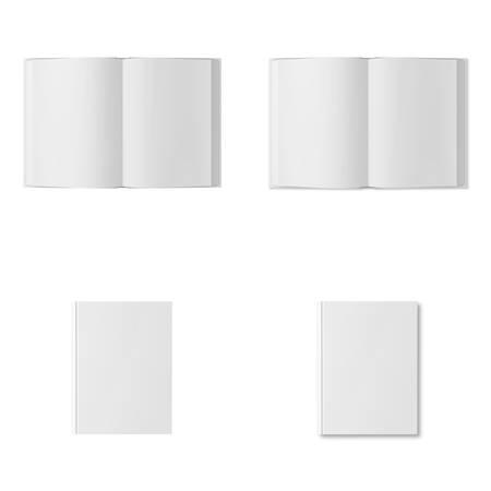 Collection de livres blancs isolés sur fond blanc