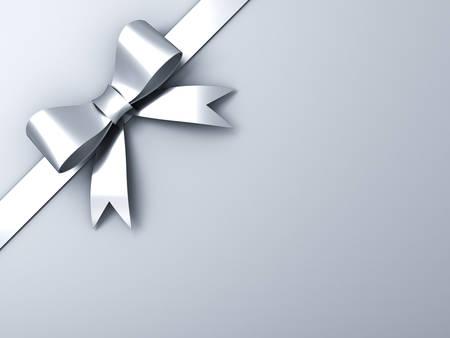 コーナーの白または灰色の背景に銀のリボンの弓