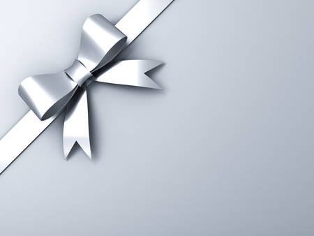 Silver ribbon bow on corner white or gray background