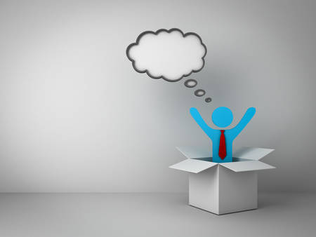 Think outside the box concept, Business man standing with arms wide open in open box with thought bubble above his head over empty white wall background Stock Photo - 23800248