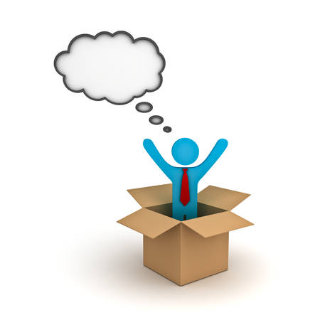 Think outside the box concept, Business man standing with arms wide open in the open cardboard box with thought bubble above his head over white background photo