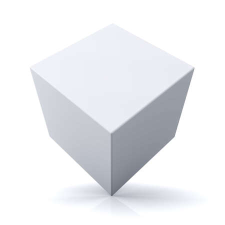 ebox: 3d cubo o casella su sfondo bianco con la riflessione Archivio Fotografico