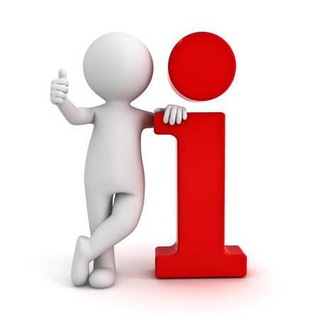 흰색 배경 위에 절연 3D 남자 빨간색 정보 아이콘을 기울고 엄지 손가락을 보여주는 손 제스처