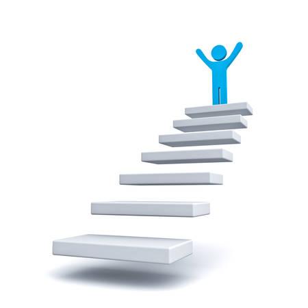 手順または白い背景の上の階段の上にビジネス男