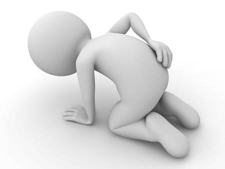 masaje deportivo: Hombre 3d que se sienta con la espalda sobre el fondo blanco Foto de archivo