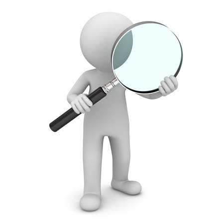 observer: 3d man standing and holding magnifying glass isolated over white background