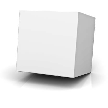 ebox: 3d cube or box on white background with reflection