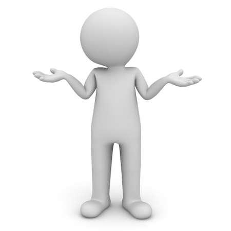 perplesso: 3D uomo in piedi e di non avere idea isolato su sfondo bianco Archivio Fotografico