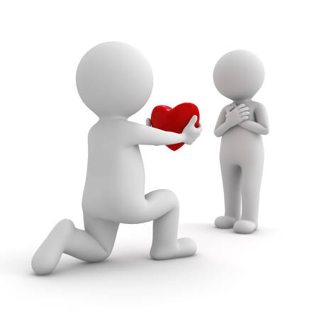 3d man getting down on one knee and giving heart to his lover on white background