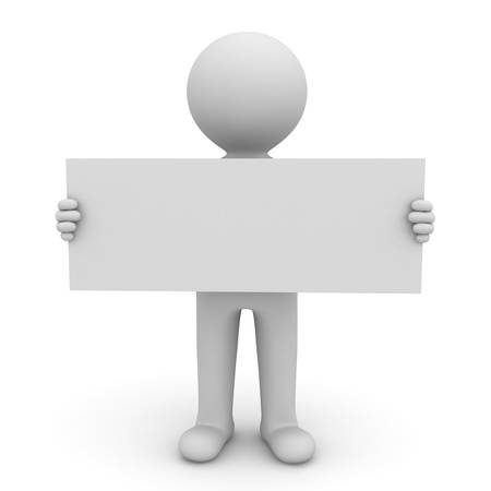 3d man holding long blank sign on white background photo
