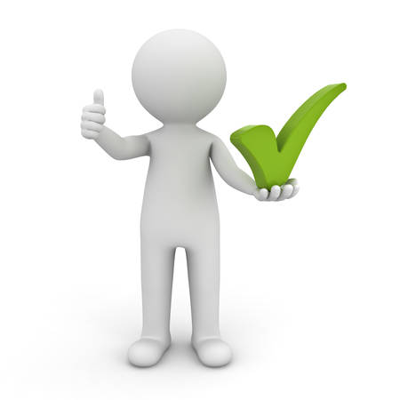 cartoon tick: 3d man showing thumbs up with green check mark on his left hand over white background