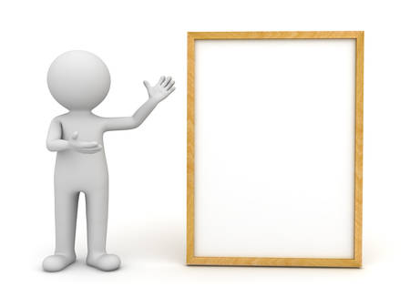 3d man standing and presenting blank board or sign isolated over white background photo