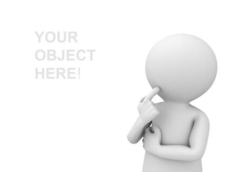 3d man thinking and looking at empty space over white background photo