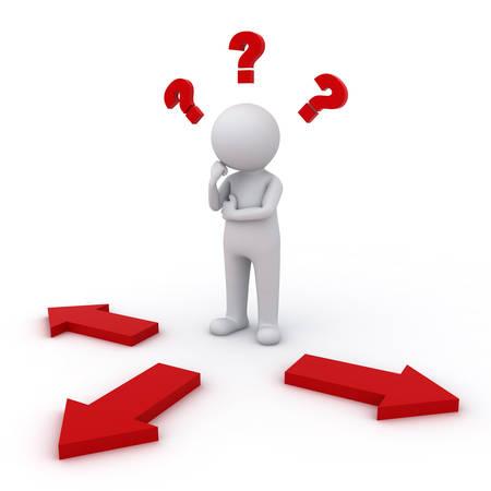 3d hombre de pensamiento y confuso con tres flechas de color rojo con tres direcciones diferentes que se preguntan qué camino tomar más de fondo blanco Foto de archivo