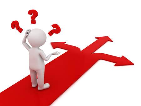3d człowiek myśli i mylące z trzy czerwone strzałki wskazujące trzy różne kierunki zastanawiasz się, którą drogą iść na białym tle