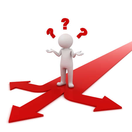 computadora caricatura: 3d hombre de pensamiento y confuso con tres flechas de color rojo con tres direcciones diferentes que se preguntan qu� camino tomar m�s de fondo blanco