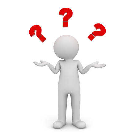 3d man standing and having no idea with red question marks above his head isolated over white background