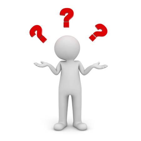 3d człowiek stoi i nie mając pojęcia, ze znakami czerwonego zapytania nad głową samodzielnie na białym tle Zdjęcie Seryjne