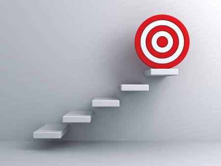 흰 벽 배경 위에 목표 대상 비즈니스 개념 단계