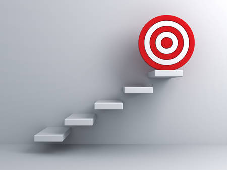 Steps with goal target business concept over white wall background