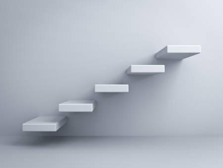 白い壁の背景に抽象的な階段またはステップの概念