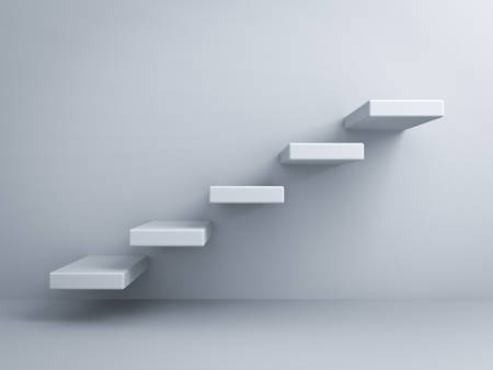 first floor: Abstract stairs or steps concept on white wall background Stock Photo