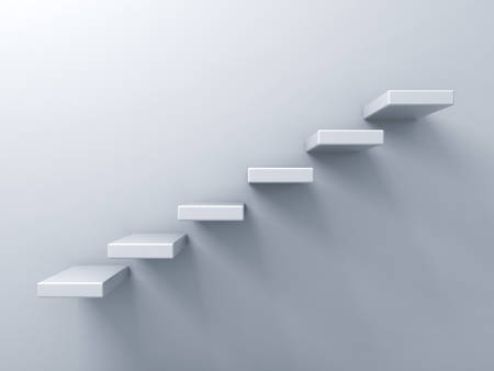 the first step: Abstract stairs or steps concept on white wall background Stock Photo